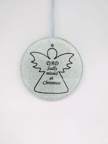 Dad glass angel memorial tree hanger.